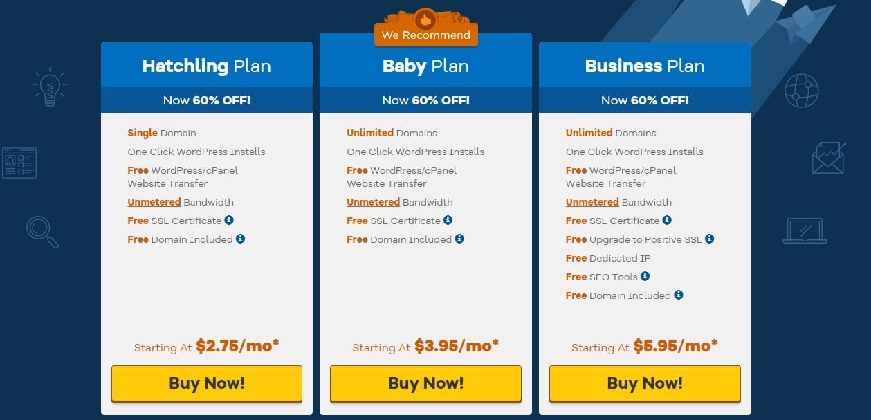 Hostgator Hosting Plans and Pricing