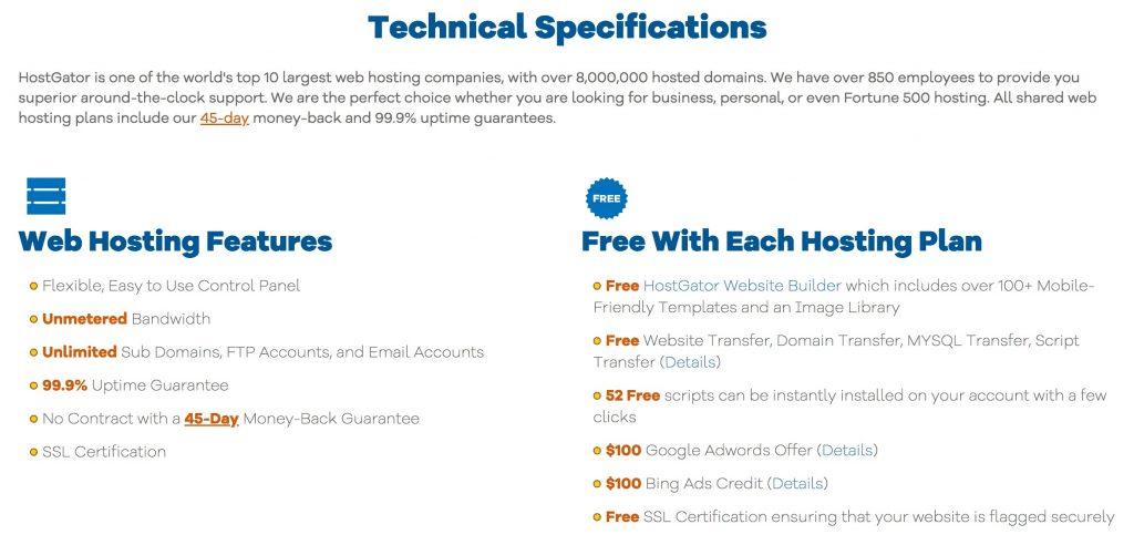 Hostgator Technical Features
